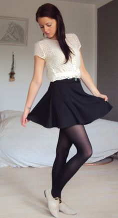 Oxfords with tights and a skirt.. Cute