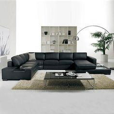 Brand New Sofa Sectional 6 Seater Lounge Suite Bonded Black Leather Diva Leather Corner Sofa, Best Leather Sofa, Modern Leather Sofa, Black Leather, Leather Lounge, Cheap Sofa Sets, Cheap Living Room Sets, Living Rooms, Sofa Deals