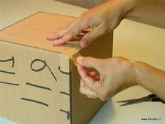 Tuto DIY Fiche pour fabriquer boite en carton - kraftage angle 2 Diy Box, Diy Paper, Plastic Cutting Board, Crafty, How To Make, Boxes, Miraculous, Images, Carton Box