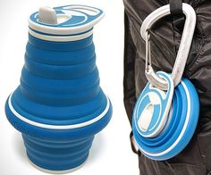 Carry a portable water container virtually anywhere you go without the bulk by using the collapsible water bottle. This handy disposable bottle alternative is made from food safe silicone and is designed to fold down to a compact package that fits in your pocket.