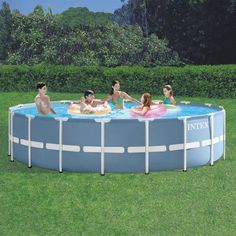 Intex 18' x 48 inch Prism Frame Above Ground Swimming Pool with Filter Pump, BOX 2 OF 2, Blue