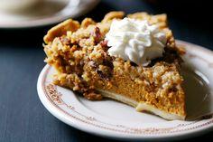 Bourbon Pumpkin Pie with Cinnamon Pecan Streusel