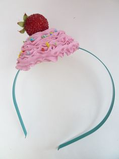 CUPCAKE HEADBAND graet for Halloween costume fake cupcake photo prop session shoot and  Katy Perry costume first birthday party ,pink icing