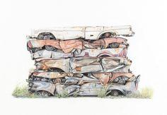 junkyard-cars-drawing-paul-white-4.jpg (990×684)