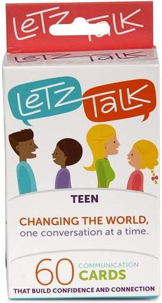 AmazonSmile: Letz Talk Conversation Starters For Teens | Fun Family-Friendly Question Card Game | Builds Confidence, Therapy Game, Family Travel, Counselors, Stocking Stuffers | Ideal for ages 13-18: Toys & Games