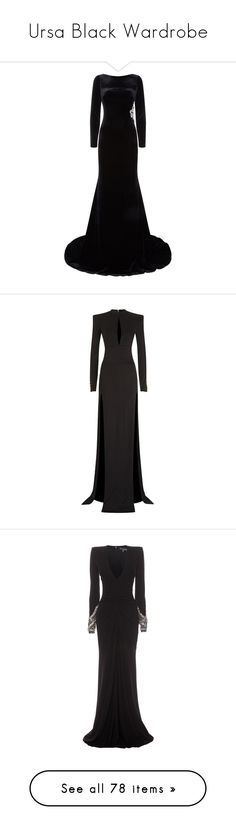 """Ursa Black Wardrobe"" by littlerin26 ❤ liked on Polyvore featuring dresses, gowns, long dresses, vestidos, velvet evening gown, embellished dress, long party dresses, velvet gown, jovani evening gowns and balmain"