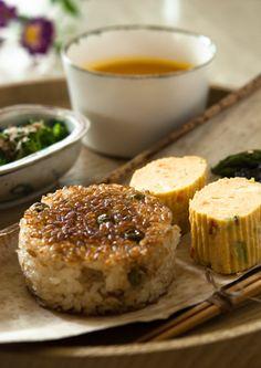 Japanese Food Yaki-Onigiri (Grilled Rice Ball ) and Tamagoyaki Rolled Omelet (Sushi Egg)