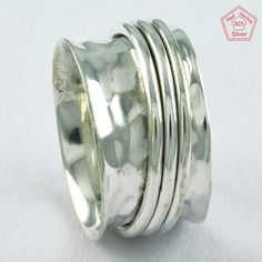 Fantastic Hammered Design 925 Sterling Silver Spinner Ring R4729, Sz. 6.5 US #SilvexImagesIndiaPvtLtd #Spinner #AllOccasions