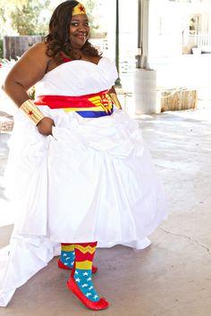 Wonder Woman bride rocking her wedding socks!