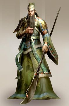 Don't be fooled by the silky garments, he deftly wields that halberd/naginata Guan Yu