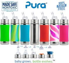 Pura Kiki Stainless 11oz Straw cup. The only 100% plastic-free and NonToxic Certified infant line on the market. Baby Grows... Bottle Evolves technology allows EVERY bottle to work with EVERY lid.