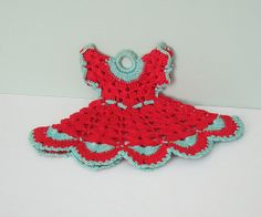 Red and Aqua Crochet Pot Holder Dress