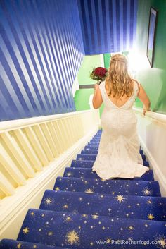Grand Hotel Bride walking down stairway from Cupola Bar by Paul Retherford Wedding Photography #GrandHotelWedding #MackinacIslandWedding #Wedding