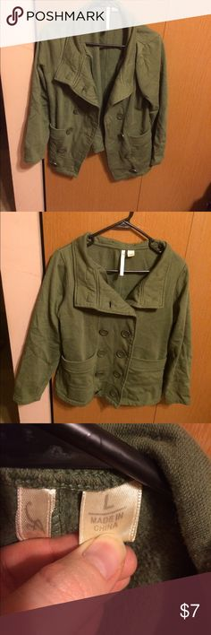 Army green light jacket Lightweight Army green jacket. Can be worn buttoned or unbuttoned. It has small buttons on the collar for a hood but I lost that. Jackets & Coats