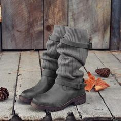 New Comfy Cabin Sweater Boots Vintage PU Paneled Adjustable Buckle Casual Boots Stylish Winter Boots, Casual Boots, Winter Shoes, Winter Wear, Summer Shoes, Fall Winter, Sweater Boots, Knit Boots, Fly Boots
