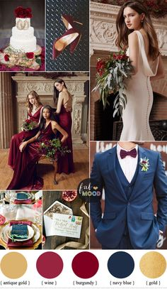 Burgundy gold and navy blue color scheme for classical wedding is part of Burgundy wedding colors A romantic pairing of elegant details with traditional elements, this burgundy wedding color palette - Blue Colour Palette, Blue Color Schemes, Wedding Color Schemes, Colour Palettes, Navy Colour, Wedding Color Palettes, Burgundy Wedding Colors, Burgundy And Gold, Autumn Wedding Colors