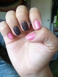 pink and black nails #shortnails #blackandpink #naildesigns