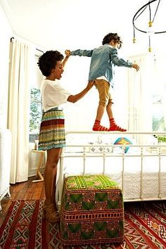 Solange Knowles and her son in their Brooklyn home. Photographed by Paul Costello for Elle.