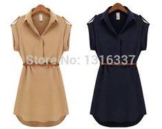 Cap moda manga estiramento Chiffon OL Casual Belt Shirt Mini vestido ml XL em Blusas de Roupas e Acessórios no AliExpress.com | Alibaba Group