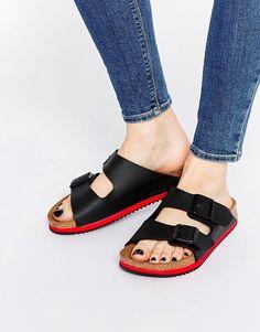 Image 1 ofBirkenstock Arizona SL Birko Flor Black Slider Flat Sandals