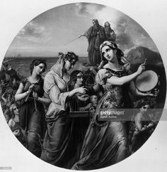 Miriam, sister of the Hebrew prophet and founder of Israel Moses, answers 'sing ye to the Lord for he hath triumphed gloriously' during the departure of the Israelites from Egypt and journey to Mount Sinai. Original Artwork: Engraved by H Bourne from a painting by W Hensel