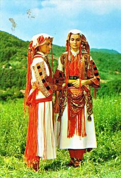 Traditional festive costume from Debar (western Macedonia).  Clothing style: early 20th century.