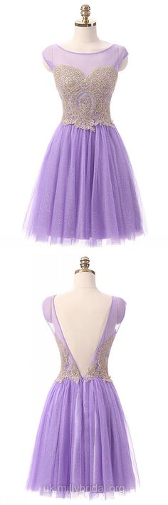 Purple Prom Dresses Short, 2018 Prom Dresses For Teens Cheap, A-line Prom Dresses Backless, Scoop Neck Cocktail Party Dresses Tulle Beading Latest