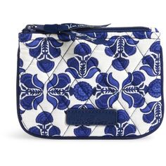 Vera Bradley Coin Purse in Cobalt Tile ($14) ❤ liked on Polyvore featuring bags, wallets, cobalt tile, round bag, coin wallet, coin pouch, coin case and change purse