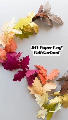 Paper Leaves, Paper Flowers, Leaf Crafts, Diy Crafts, Diy Projects For Fall, Fall Paper Crafts, Fall Leaf Garland, Diy Papier, Paper Decorations