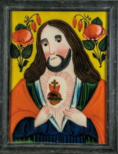 Sacred Heart, Sandl, mid-19th century. Before yellow ground painted in bright colors Brustbildnis Jesus with the flaming heart in the upper corners of each one Rosenzweig. Profiled wooden frame. 46 x 35.5 cm (with frame).