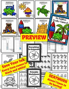 Addition Centers, Printable Seatwork Centers and Foldables Summer Beach Themed #TPT $Paid