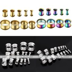 Punk Pair Stainless Steel Flared Ear Tunnel Plug Hollow Expander Stretcher Gauge #Unbranded