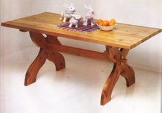 Sawbuck table design from Wood Projects for the Home by Ortho Books. If interested, please ask for a free quote on this item. We'd love to build it for you.