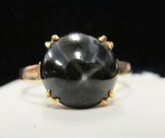 Vintage Estate 14KT Gold Black Sapphire Ring by Alohamemorabilia,