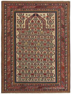 Caucasian Daghestan Prayer Rug, 4ft 2in x 5ft 4in, 3rd Quarter, 19th Century.   As your eye scans across this little Daghestan rug, a dexterous play of color and form unfolds that continually delights and surprises. It aptly exemplifies the great artistic ability of Caucasian rug art to maintain a seeming effortless balance amid so much variation. Glowing saffron and rare greens are only two of many delightful attributes of this superb, collector-level antique Caucasian Daghestan prayer rug.