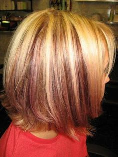 platinum highlights with red violet peek a boo low lights in Color/Cuts by Jessica Blair    Maybe this is how I should satisfy my curiosity of blonde hair and fantasy funk color?