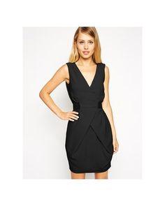 ASOS - Mini robe portefeuille coupe tulipe avec ceinture élastique - Noir