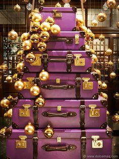 Before you retire your holiday cheer, pay a visit to Brown's Hotel in London, where British luggage company Globe-Trotter has crafted festive decorations that will leave a lasting impression. www.roccofortehotels.com