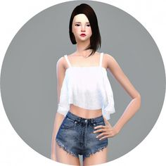 SIMS4 Marigold: Ruffle Sleeveless Crop Top • Sims 4 Downloads