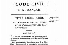 The first lines of the original 1804 civil code.