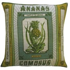 Linen throw pillow with a botanical motif.            Product: Pillow  Construction Material: Linen  Color: Multi  Features: Insert includedDimensions: 20 x 20   Cleaning and Care: Cover is machine washable with mild detergent