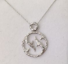 Luxinelle Carat Pave Diamond Circle Pendant with Chain - Twisted Vine Design White Gold Vine Design, Circle Design, Diy Necklace, Pendant Necklace, Necklaces, Fine Jewelry, White Gold, Pendants, Chain