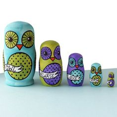 Hand-painted Nesting Dolls - Owl Always Love You - No. 3