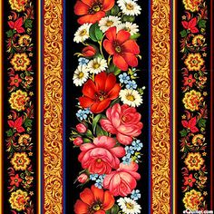 "Paprika Red, Azure, Powder Blue, Kelly Green, Garnet, Rose, Ivory, Yellow, Black, Gold Metallic Stripes of blossoming flowers, gold metallic filigree, and folk art paisley florals look hand painted as if they were decorating a fine Russian lacquer box. Wider stripes are about 5"", with gold metallic, from the 'Odessa' collection by Elizabeth's Studio."