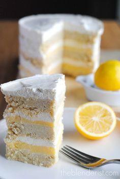 Coconut Lemon Layer Cake //  gluten free, sugar free via The Blenderist