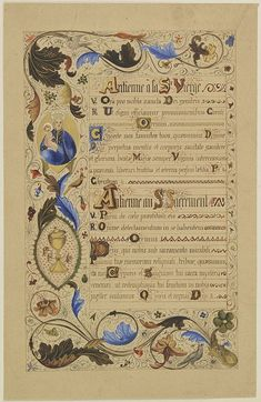 Neo-Gothic illuminated manuscript on vellum