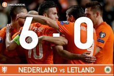 Oranje heeft de EK-kwalificatie wedstrijd tegen Letland met 6-0 gewonnen! - Goals: Robin van Persie (6) - Arjen Robben (35) -  Klaas-Jan Huntelaar (42) -  Jeffrey Bruma (77) -  Arjen Robben (82) Klaas-Jan Huntelaar (89)