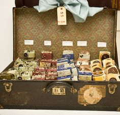 I LOVE LOVE LOVE the idea of using vintage suitcases/briefcases/etc to both store and display items at craft shows!
