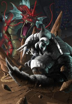 This is the most recent of my finished illustrations, Aggron vs Gyarados in an epic Pokemon Battle! Pokemon Poster, O Pokemon, Pokemon Comics, Play Pokemon, Pokemon Fan Art, Pikachu, Pokemon Images, Pokemon Pictures, Digimon