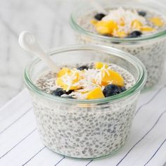 Chia seeds are full of fiber, protein, calcium, and fatty acids. They expand in liquid and can be used in smoothies or added to cereals. Here's a recipe for this Chia Seed Fruit Pudding! Healthy Treats, Yummy Treats, Yummy Food, Healthy Kids, Healthy Living, Chia Pudding, Pudding Recipe, Plain Greek Yogurt, Chia Seeds